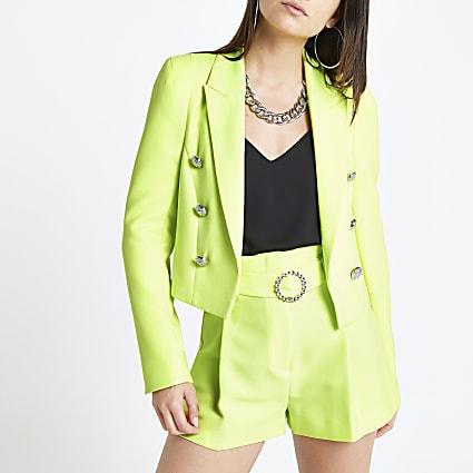 Petite neon yellow cropped blazer