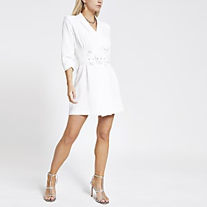 Petite white tux dress