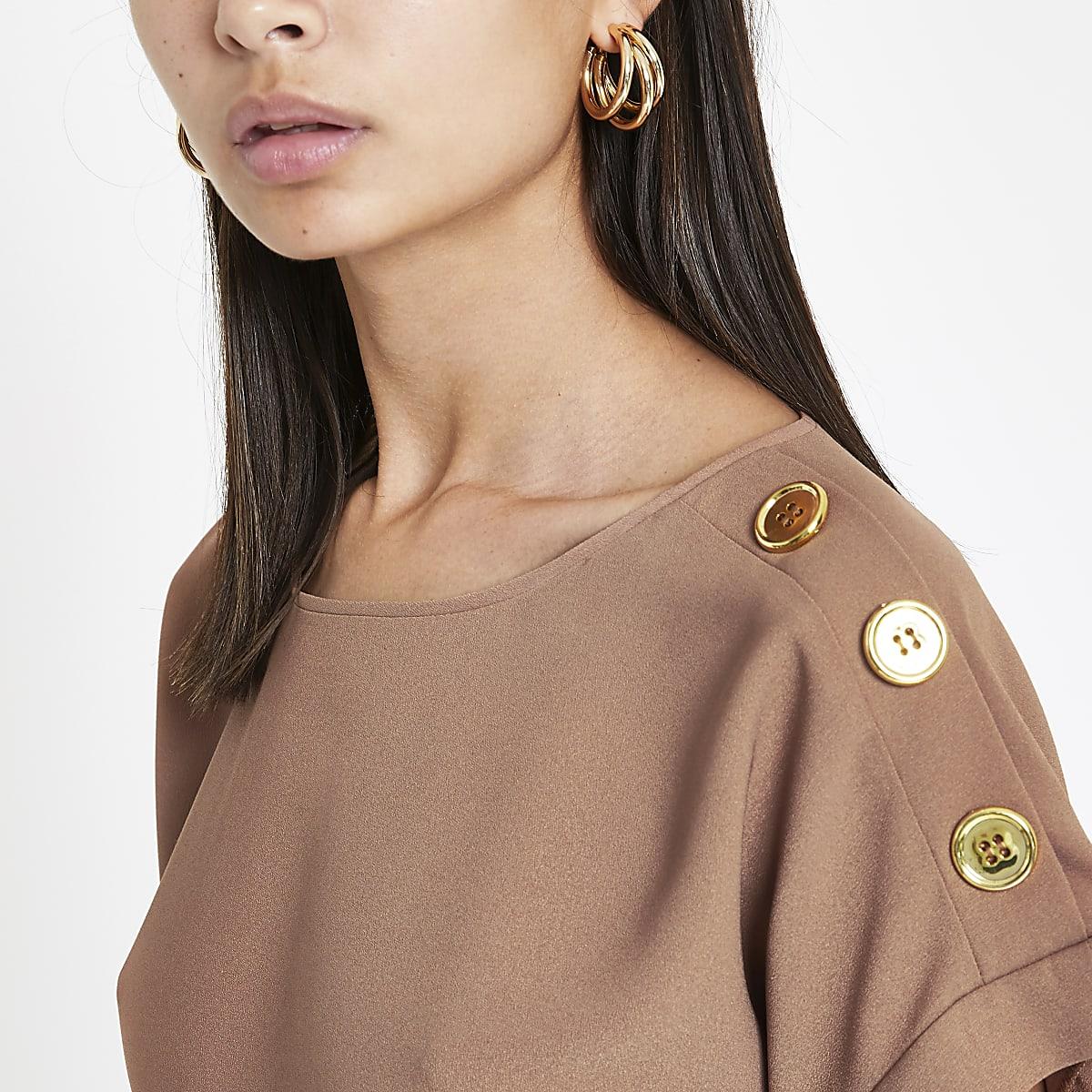 Light brown button detail T-shirt