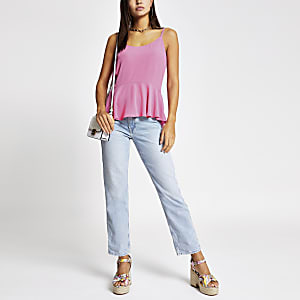 Bright pink peplum cami top