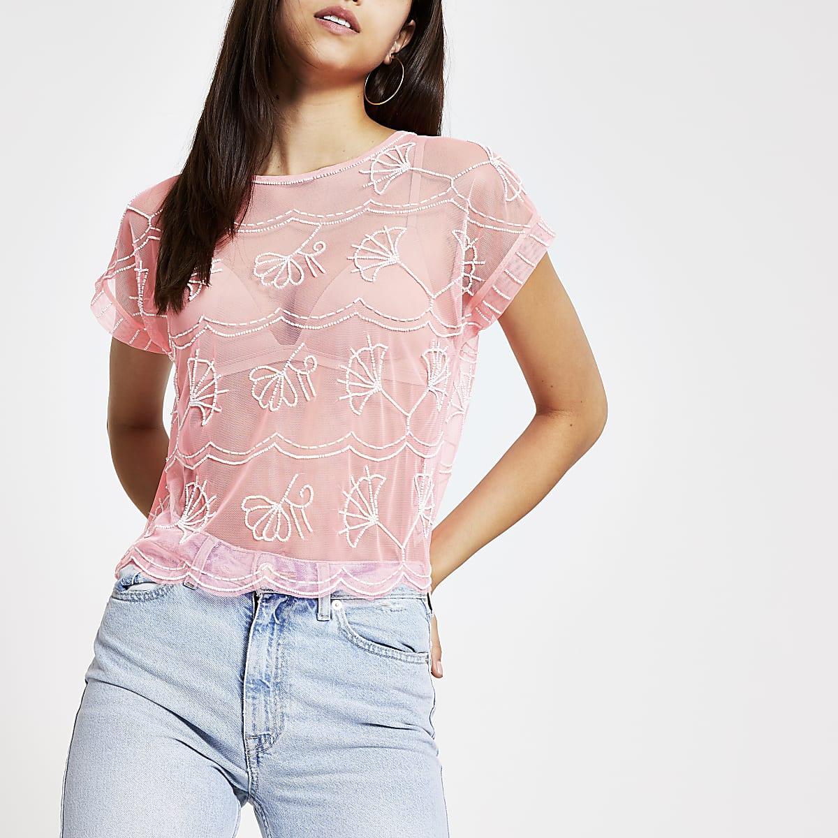 Bright pink embellished T-shirt