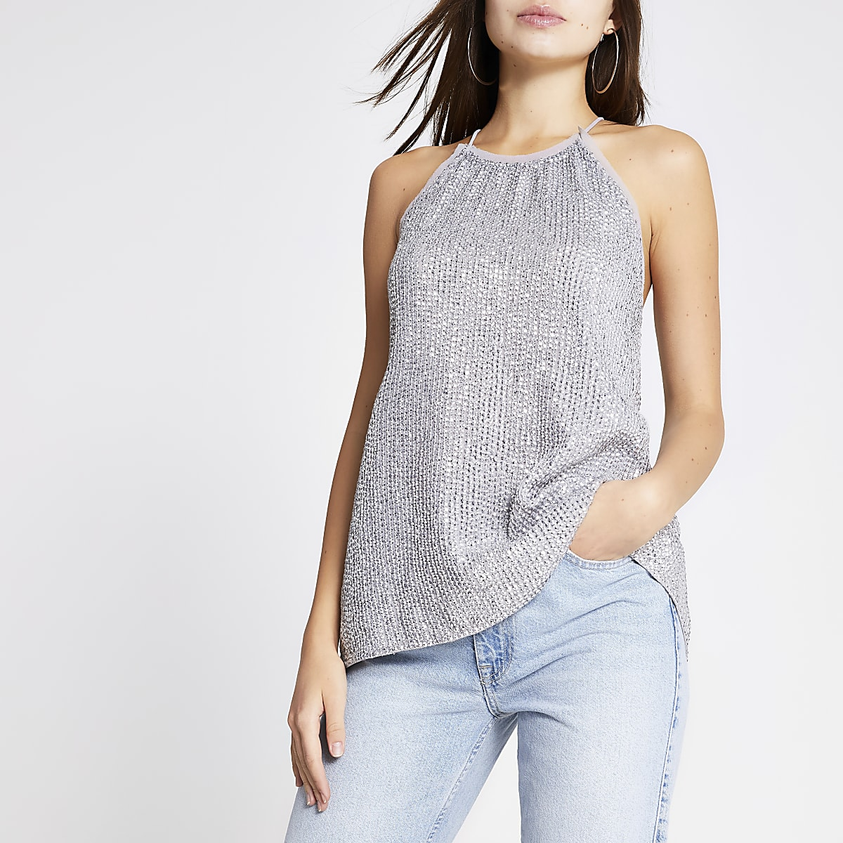 Silver sequin halter neck top