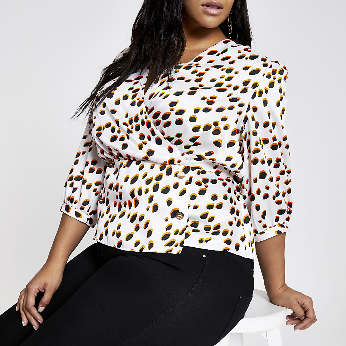 Plus white spot wrap blouse