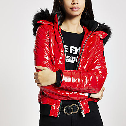 Red high shine padded bomber jacket