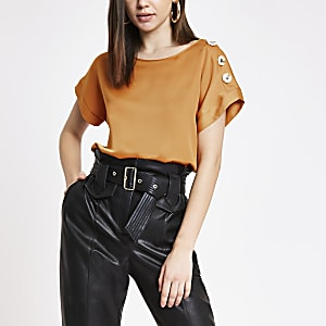 Orange satin short sleeve T-shirt