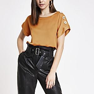Orange satin short sleeve T-shirt