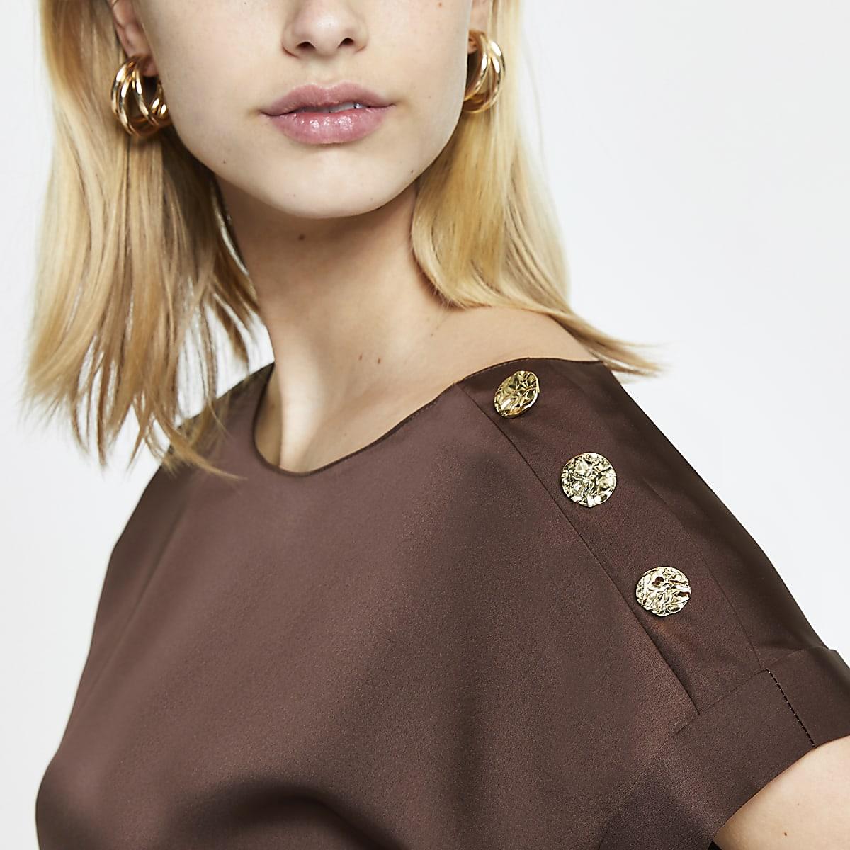 Brown satin button detail T-shirt