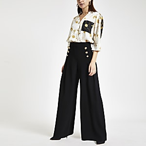 Black front pleat wide leg trousers