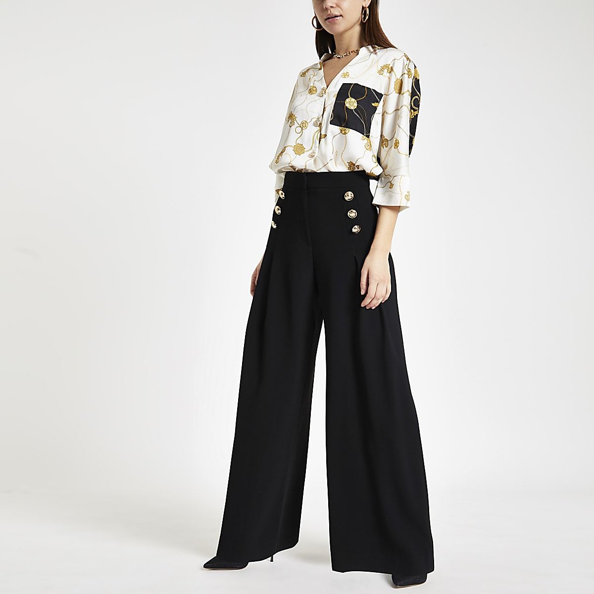 Black front pleat wide leg pants