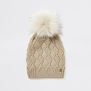 Light beige faux fur pom pom beanie hat