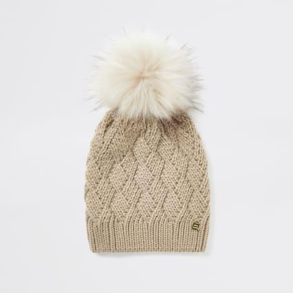 Light beige faux fur pom pom beanie hat