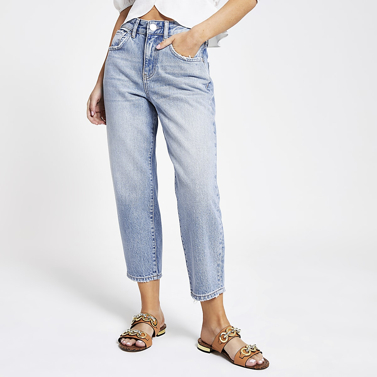 Petite light blue barrel leg jeans