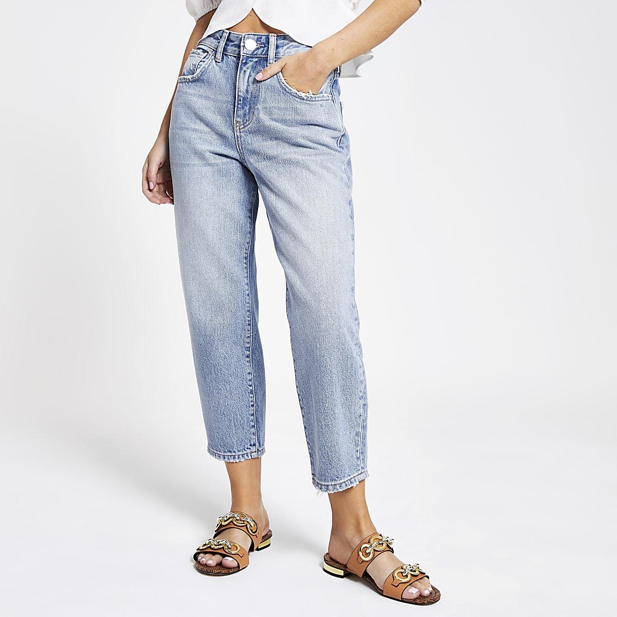 Petite light blue barrel leg jeans