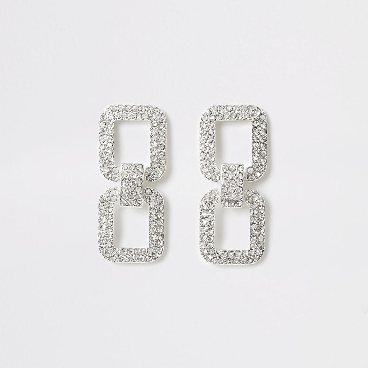 Silver color rhinestone rectangle drop earring