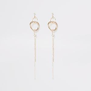 Pendants d'oreilles à chaînes doré rose