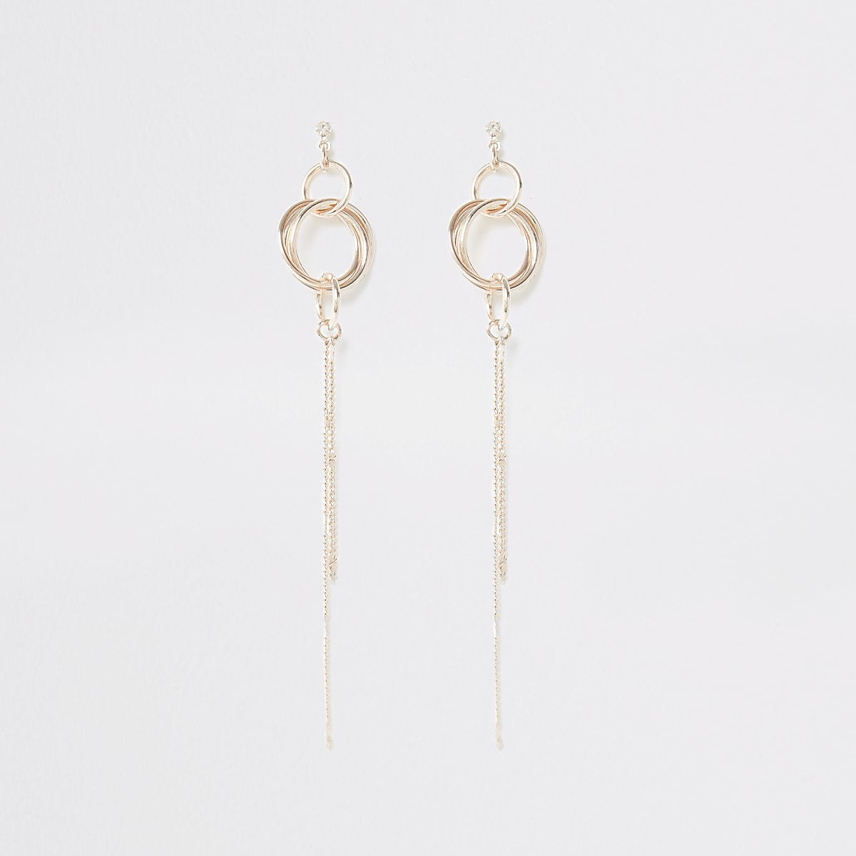Rose gold color chain drop earrings
