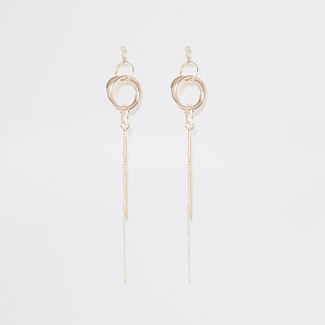 Rose gold colour chain drop earrings