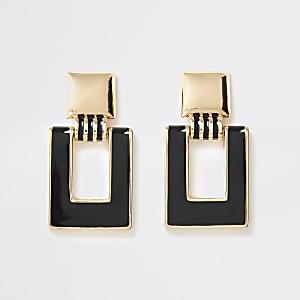 Gold colour rectangle drop earrings