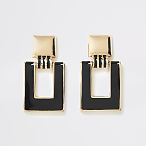 Gold color rectangle drop earrings