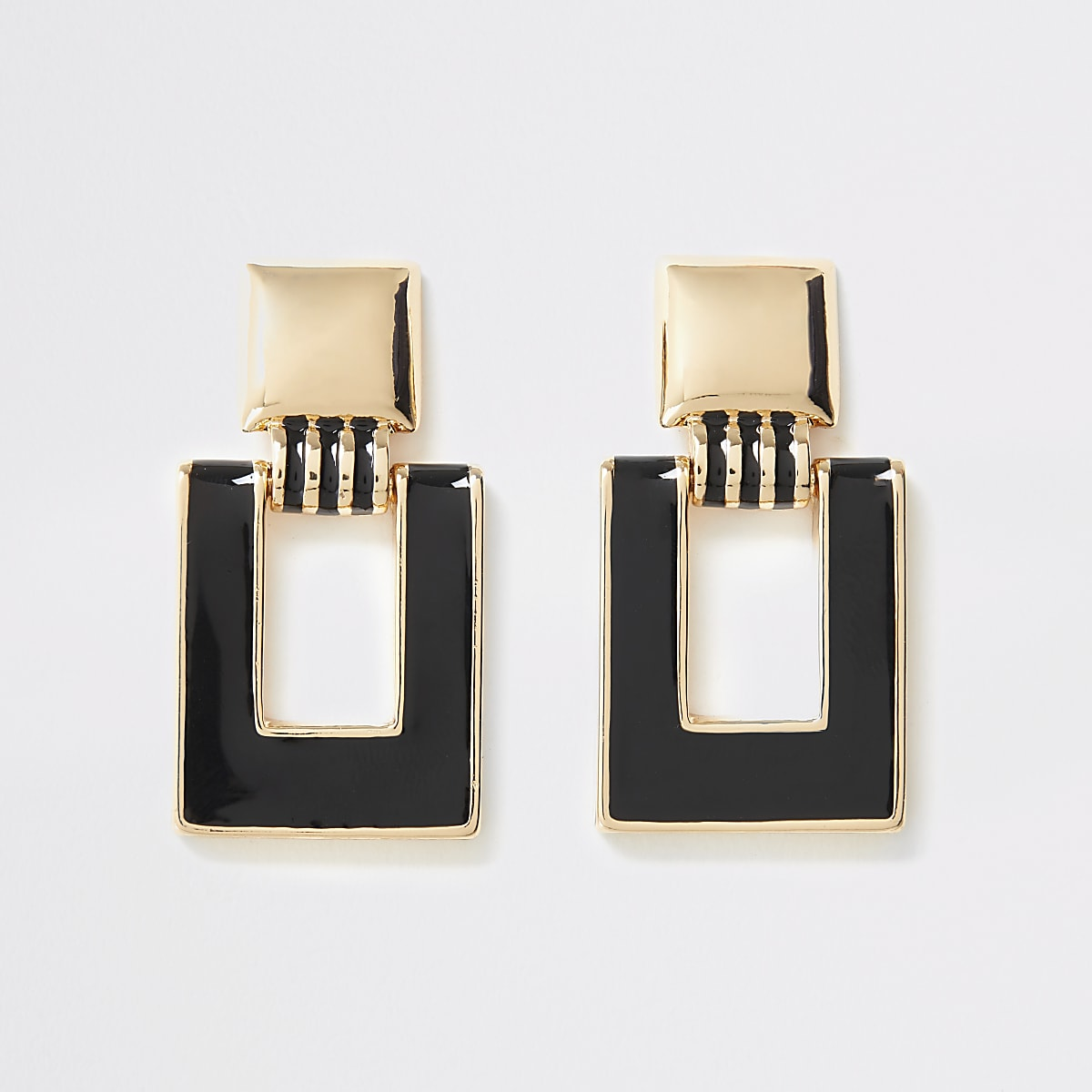 Gold colour rectangle drop earrings