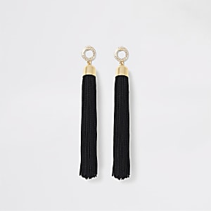 Black rhinestone pave tassel drop earrings