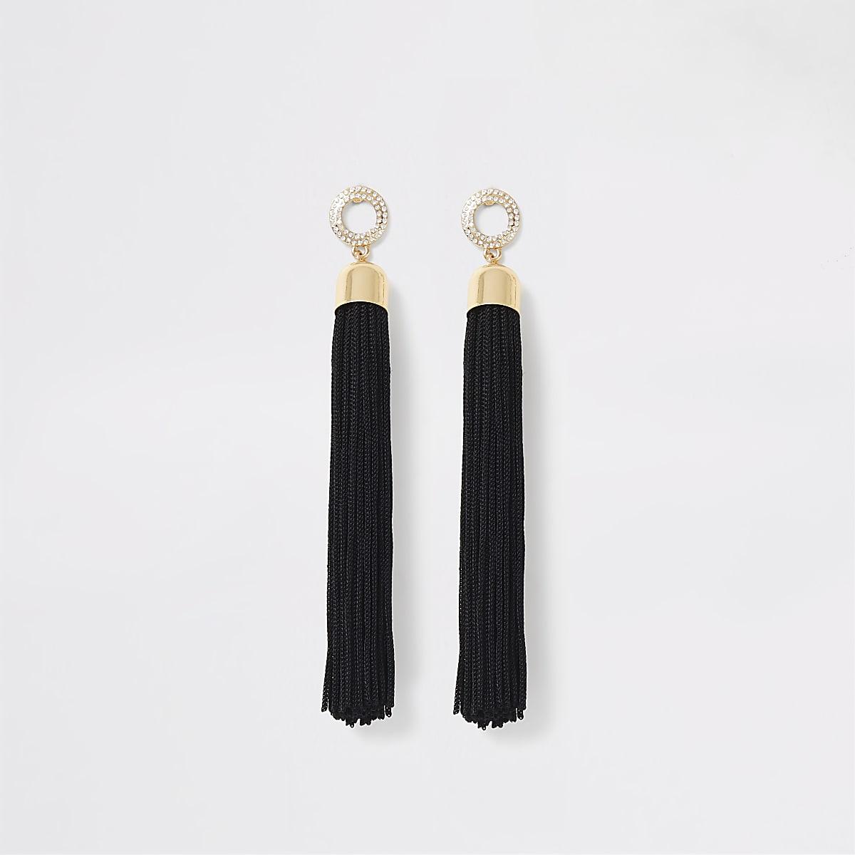 Black rhinestone pave tassel drop earrings