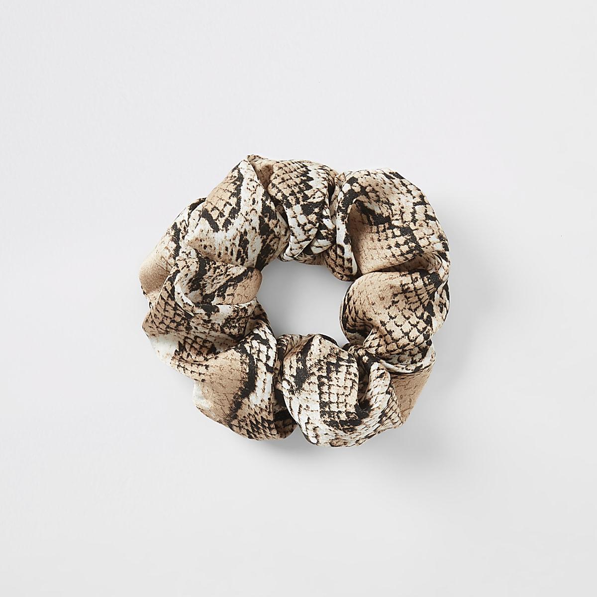 Chouchou à imprimé serpent beige