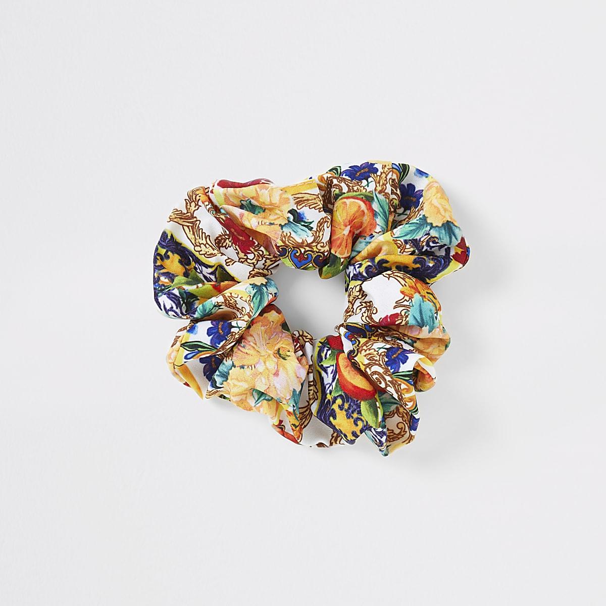 White baroque print scrunchie