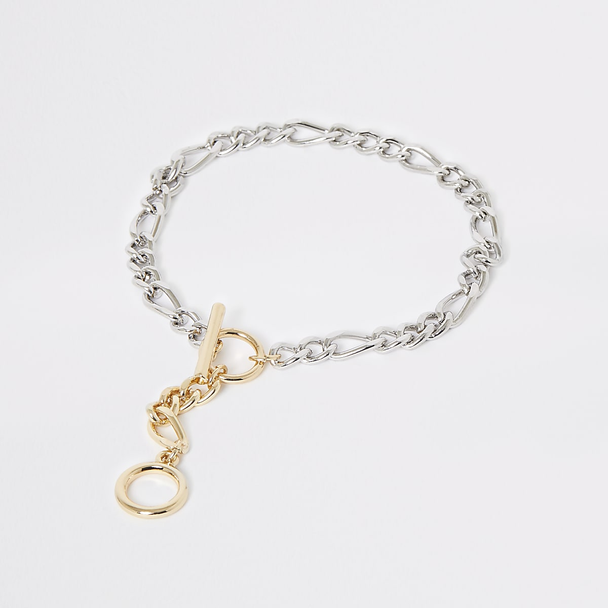 Gold and silver colour T-Bar anklet