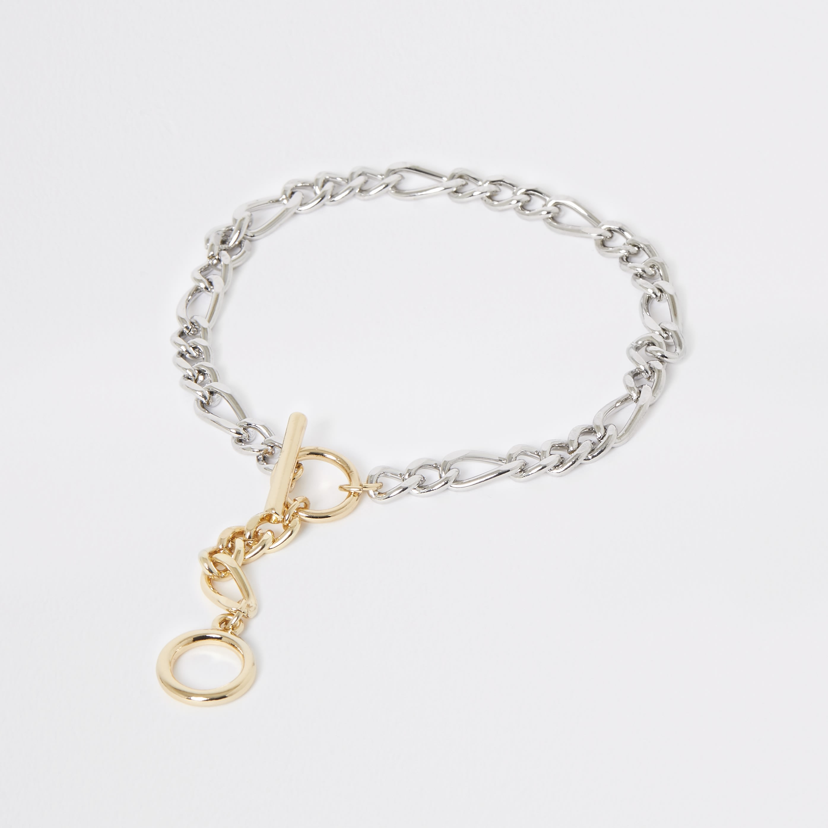 RIVER ISLAND | Womens Gold And Silver Colour T-Bar Anklet | Goxip