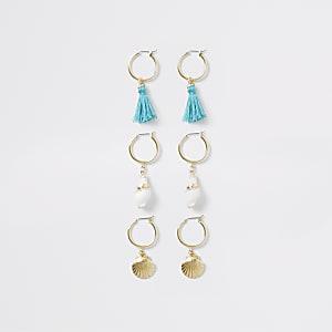 Gold colour shell hoop earrings multipack