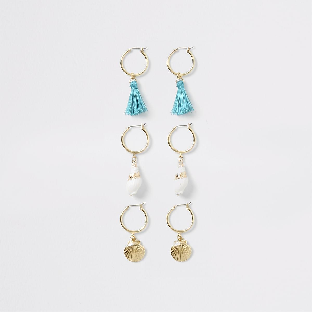 Gold color shell hoop earrings multipack