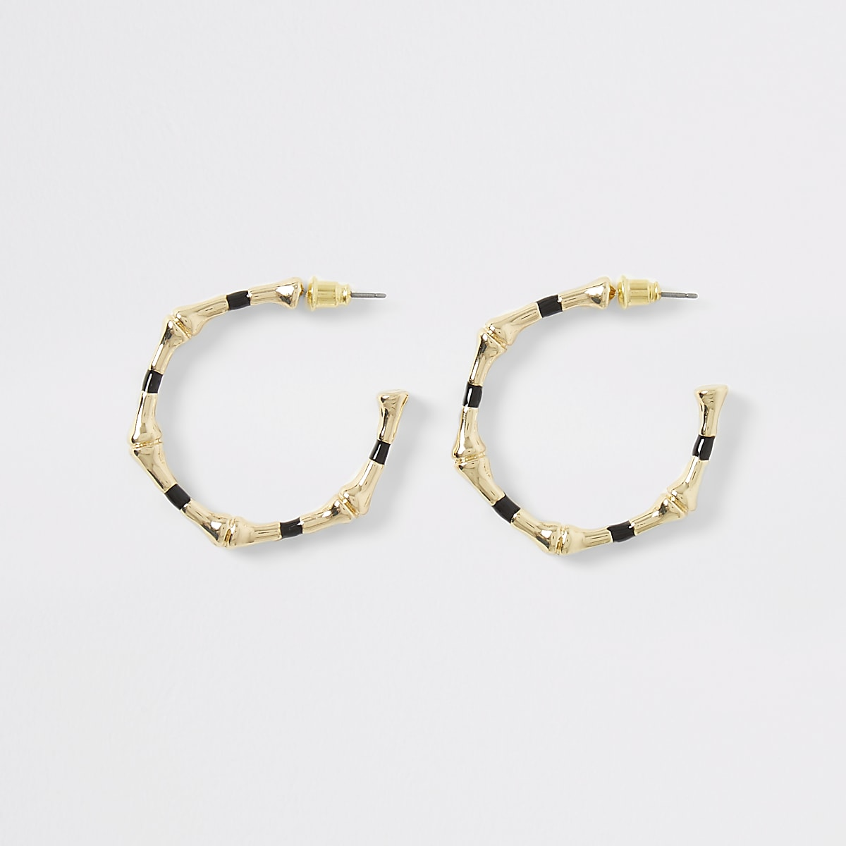 Gold colour bambo hoop earrings