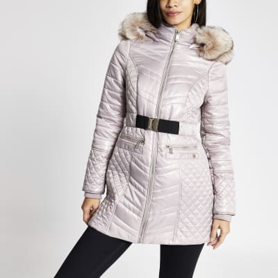 Champagne satin padded belted jacket