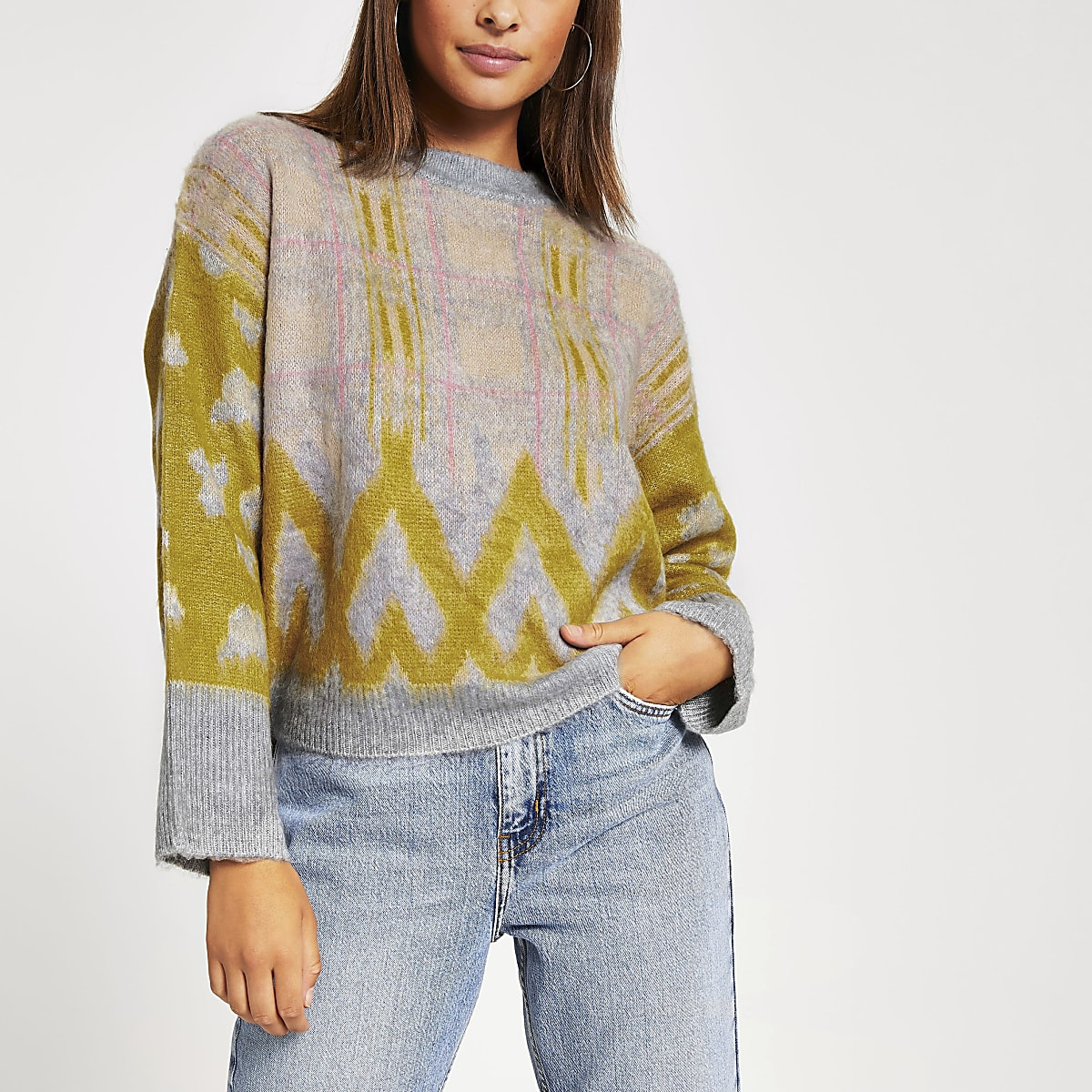 Pink printed wide sleeve knitted jumper