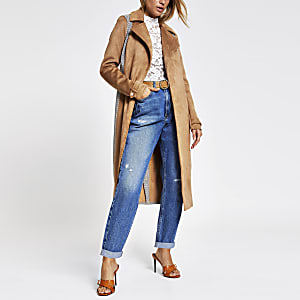 Beige suedette blocked check trench coat