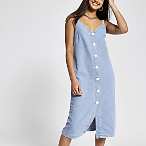Lichtblauwe denim maxi-jurk