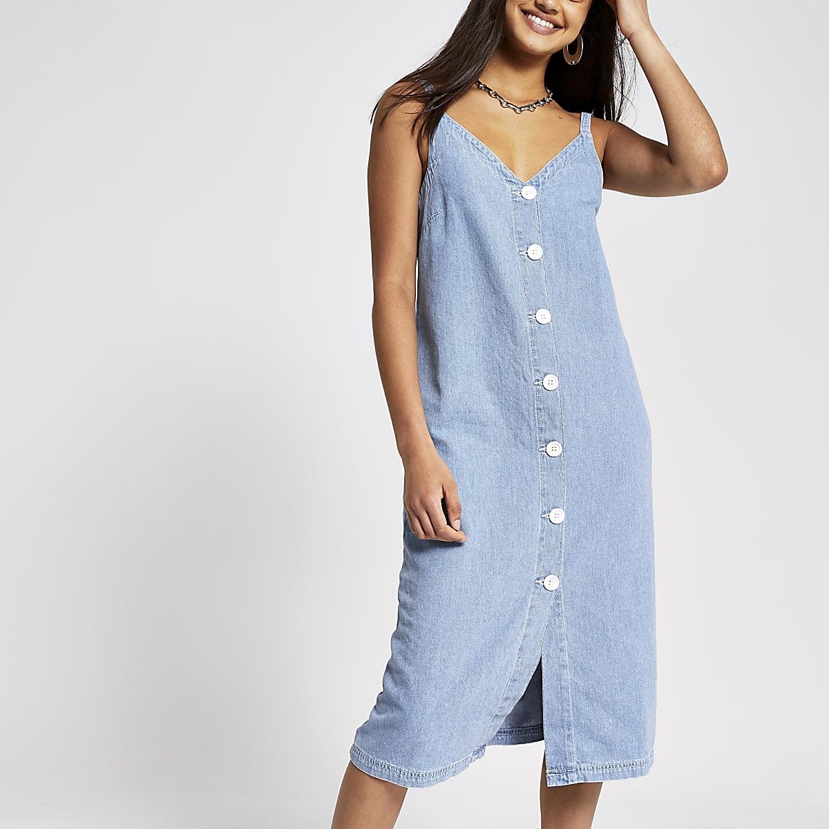 Robe longue en denim bleu clair