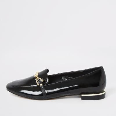 black-patent-snaffle-chain-ballet-shoes by river-island