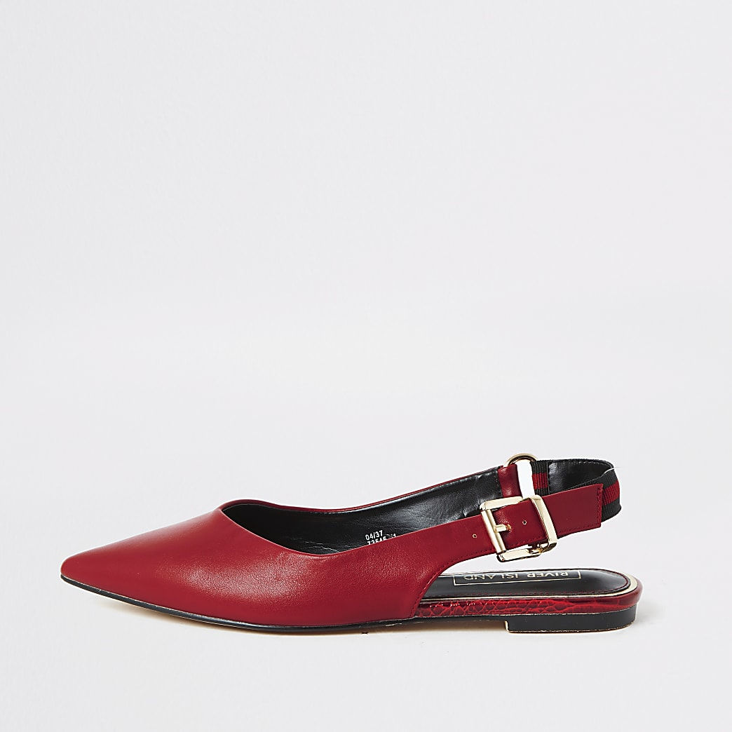 Red pointed toe sling back flat shoe