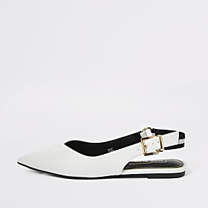 White pointed toe sling back flat shoe