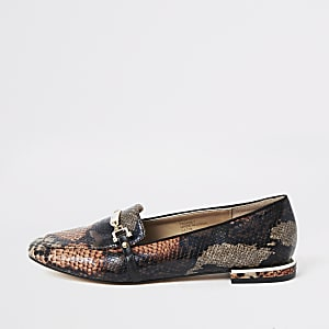 Orange snake print snaffle chain ballet shoes