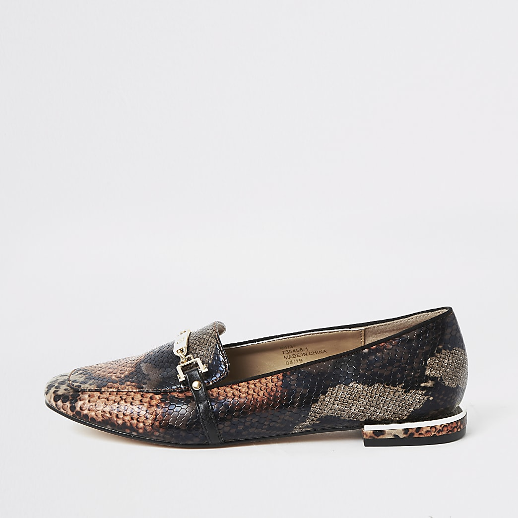 Orange snake print snaffle chain ballet shoes