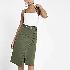 Khaki wrap utility denim midi skirt