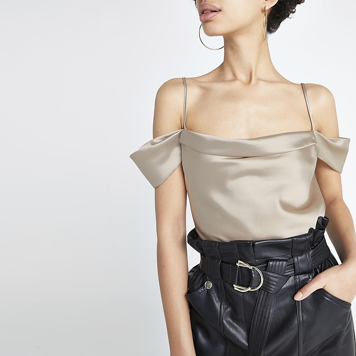 4360f529d18ec7 Cream cowl bardot neck cami top - Bardot   Cold Shoulder Tops - Tops - women