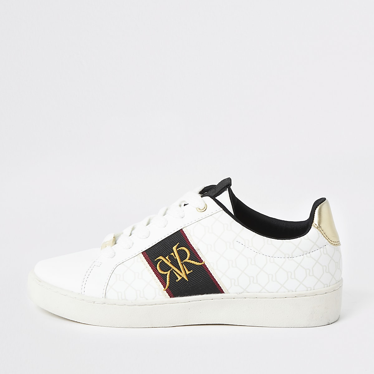 White RI monogram stripe trainer