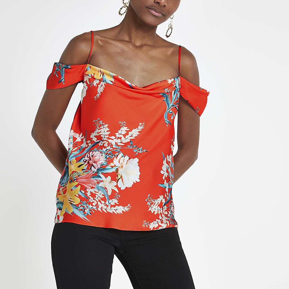 Red floral cowl bardot neck cami top