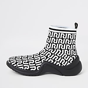 White RI monogram print sock runner trainers