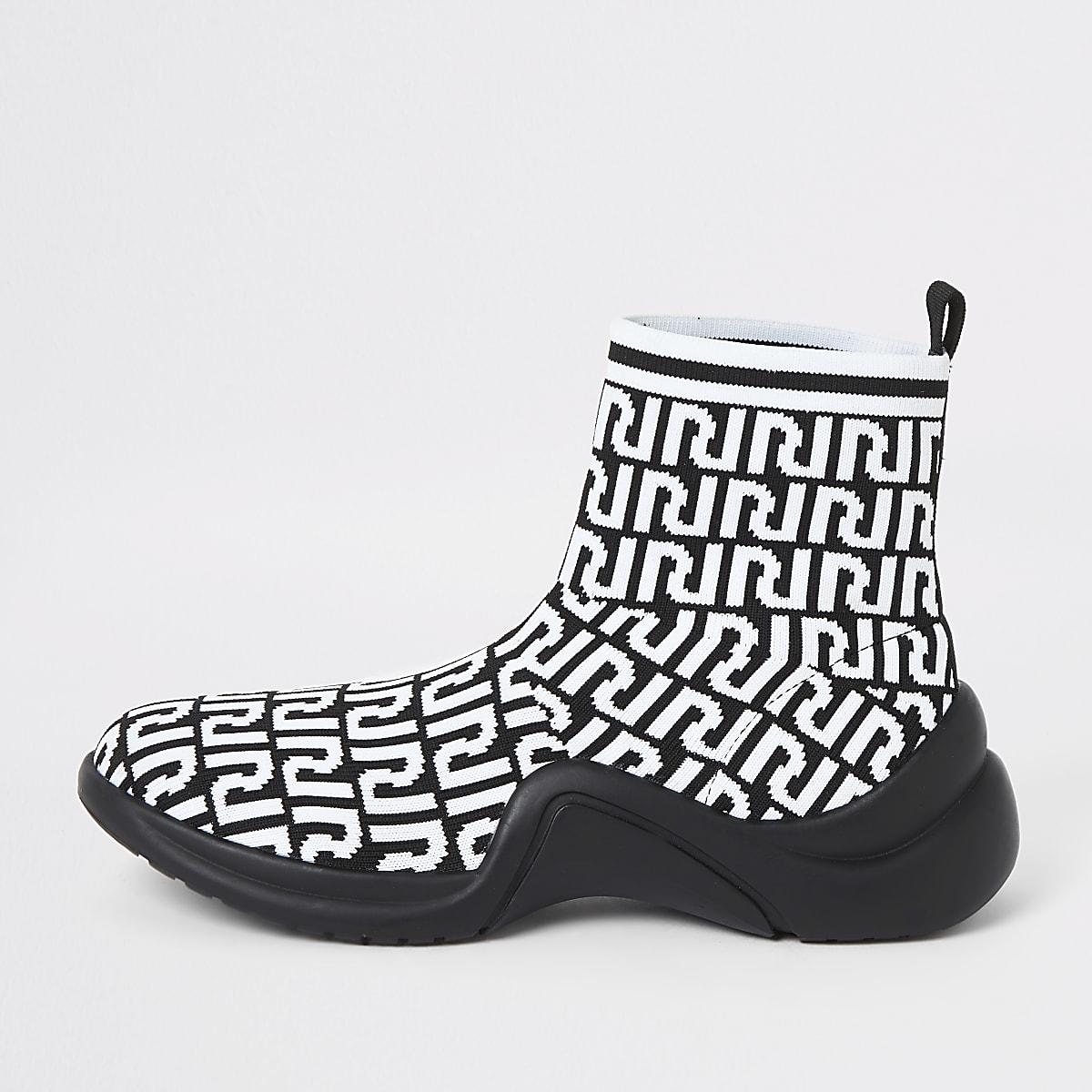 Witte sok-sneakers met RI-monogram