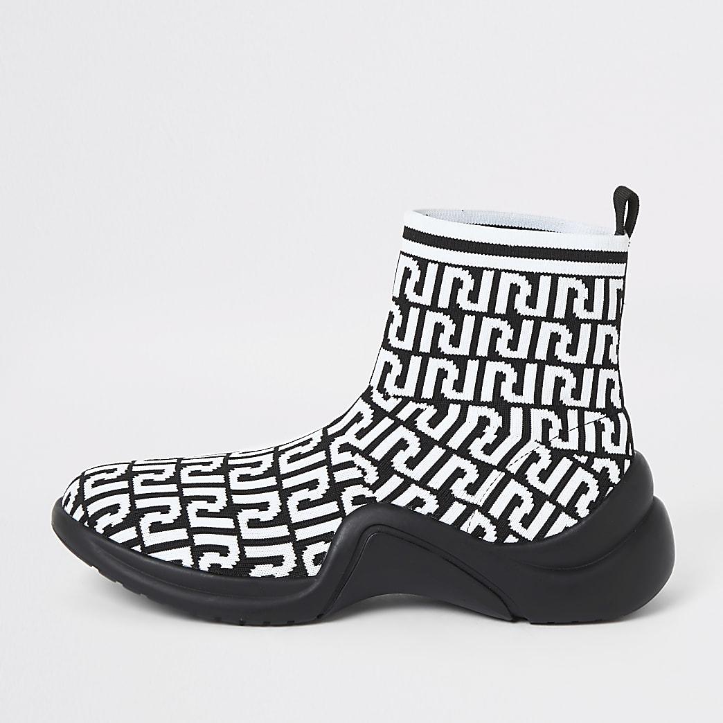 White RI monogram print sock runner trainers